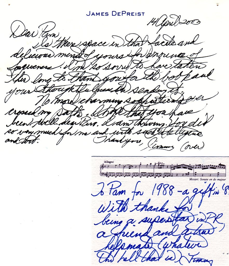 DePreist thank you letter